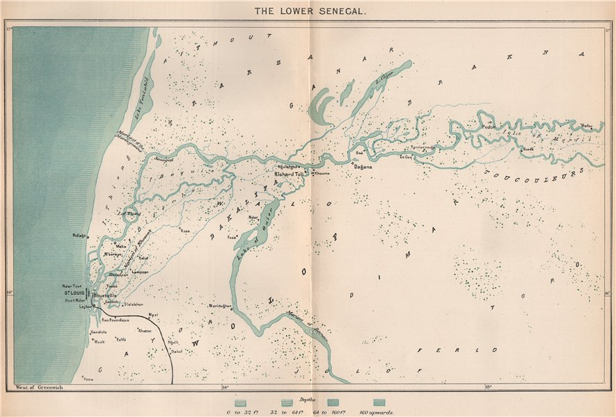 Associate Product The Lower Senegal. North Senegambia 1885 old antique vintage map plan chart