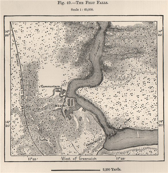 Associate Product The Felu Falls, Senegal River. Mali. Medina 1885 old antique map plan chart