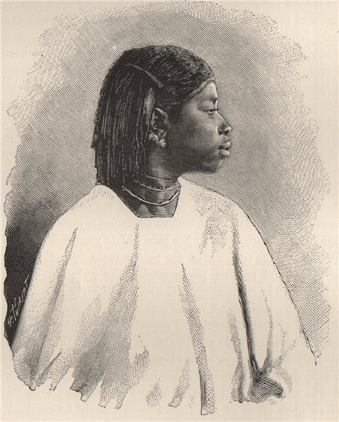 Associate Product Wolof girl, sixteen years of age. Senegal 1885 old antique print picture