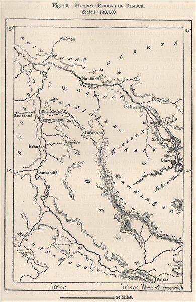 Associate Product Mineral Regions of Bambouk/Bambuk. Mali 1885 old antique map plan chart
