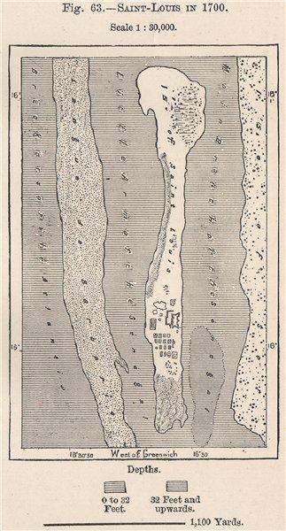 Associate Product Saint-Louis in 1700. Senegal 1885 old antique vintage map plan chart