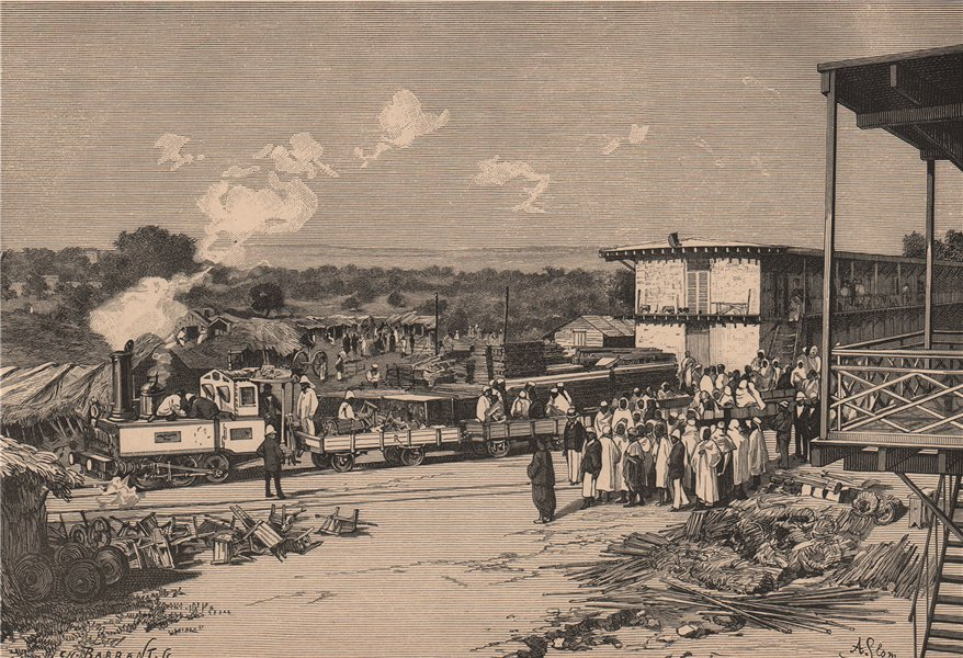 Associate Product Kayes railway station. Mali 1885 old antique vintage print picture