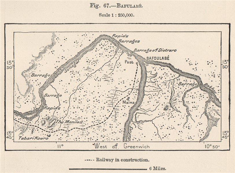 Bafoulabé. Mali. North Senegambia 1885 old antique vintage map plan chart