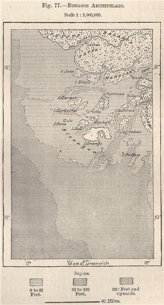 Associate Product Bissagos/Bijagos Archipelago Islands. Guinea-Bissau 1885 old antique map chart