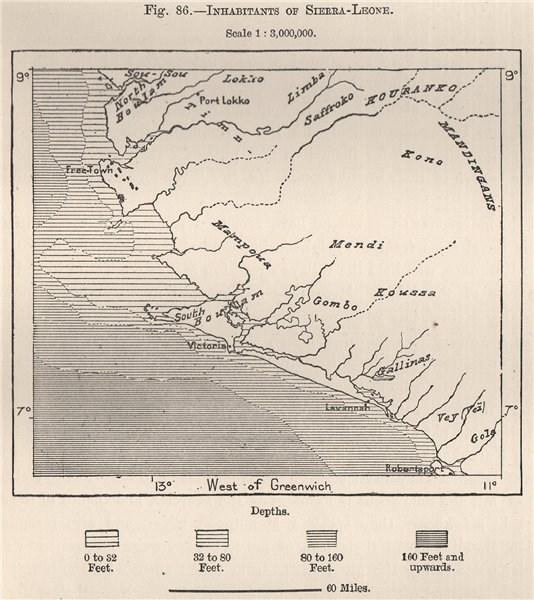 Associate Product Inhabitants of Sierra Leone. South Senegambia 1885 old antique map plan chart