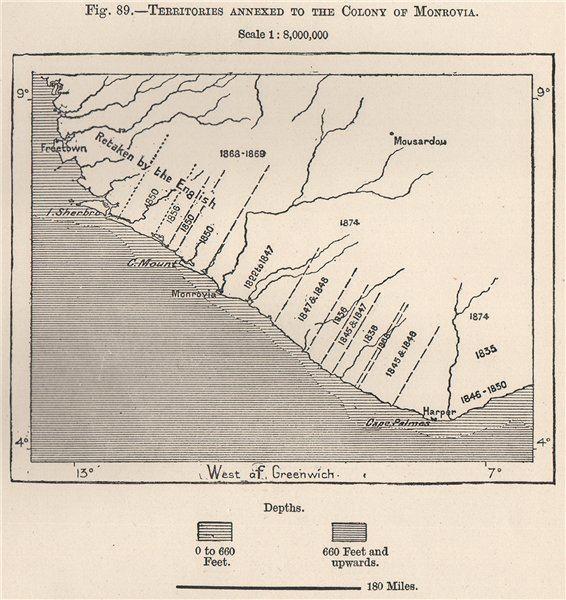 Associate Product Territories Annexed to the Colony of Monrovia. Liberia. Upper Guinea 1885 map