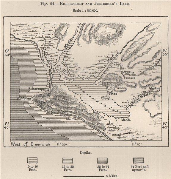 Associate Product Robertsport and Fisherman's Lake (Lake Piso/Pisu) . Liberia 1885 old map