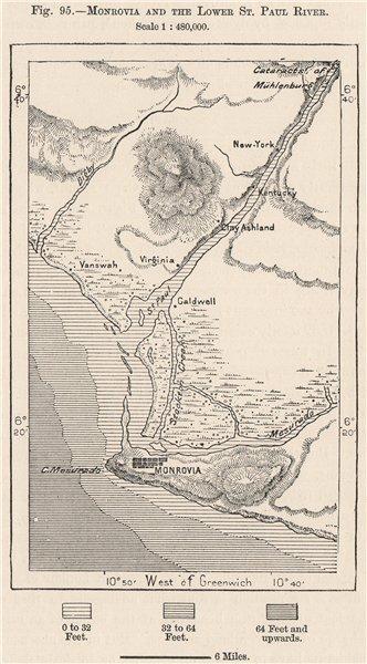 Associate Product Monrovia and the lower St Paul River. Bushrod Island. Liberia 1885 old map