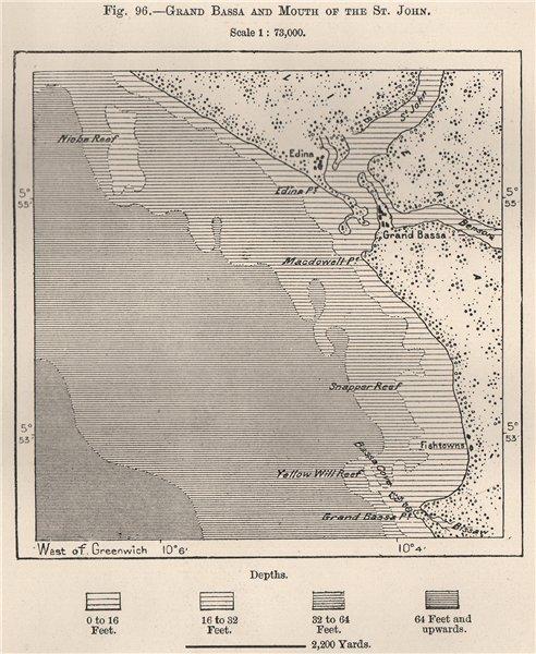Associate Product Grand Bassa (Buchanan) & mouth of the St. John. Liberia 1885 old antique map