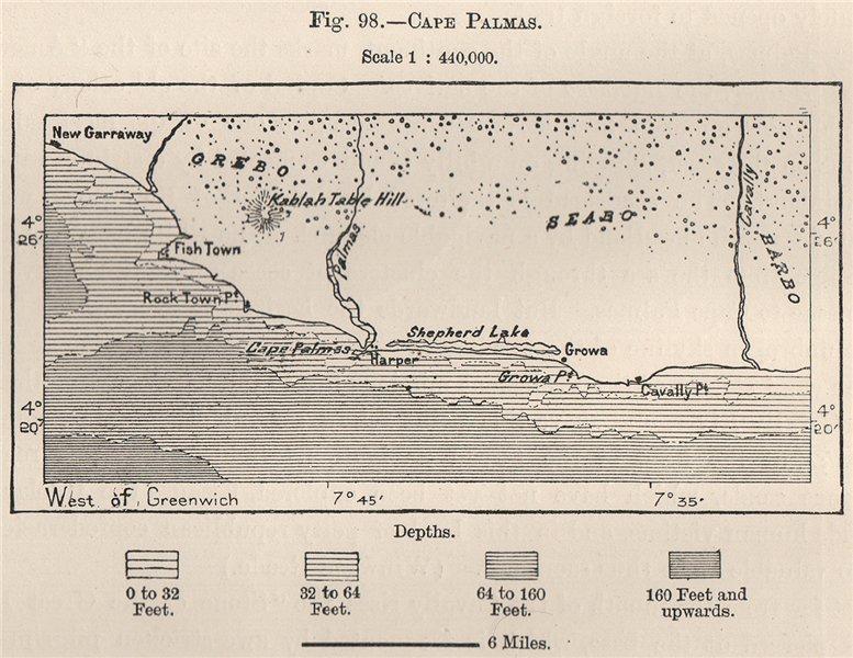 Associate Product Cape Palmas. Liberia 1885 old antique vintage map plan chart