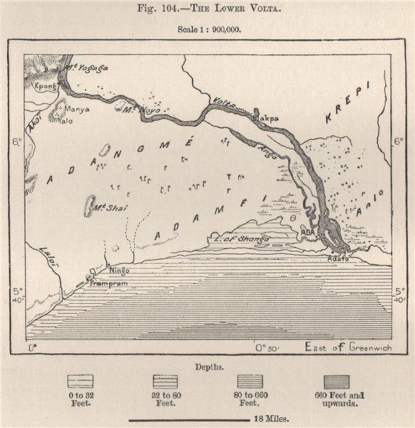 Associate Product The Lower Volta. Shai Hills. Songor Lagoon. Kpong. Ada Foah. Ghana 1885 map