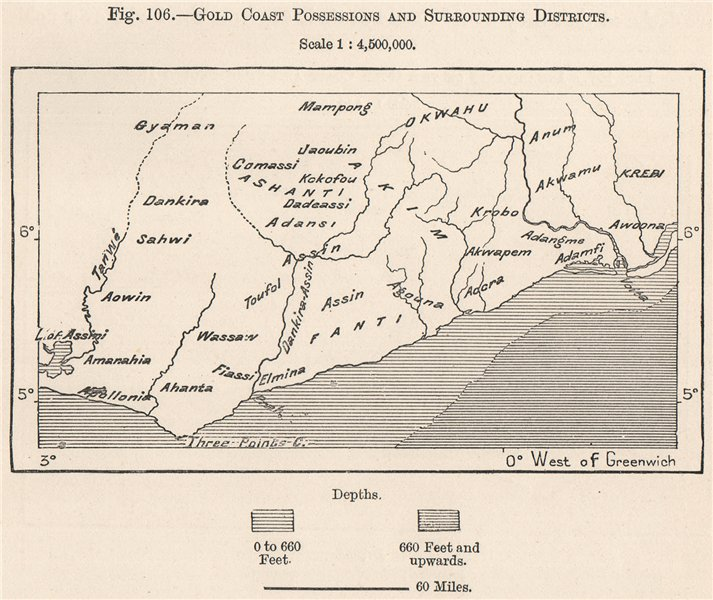 Associate Product Gold Coast (Ghana) possessions and surrounding districts. Ghana 1885 map