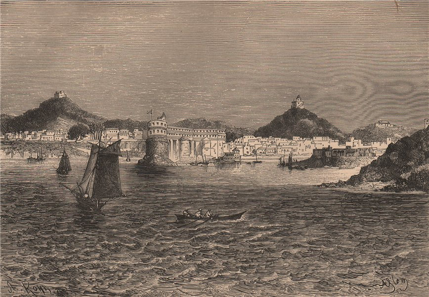 Associate Product Cape Coast - Seaward view. Ghana. Upper Guinea 1885 old antique print picture