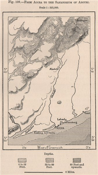 Associate Product From Accra to the Sanatorium of Aburi. Ghana 1885 old antique map plan chart