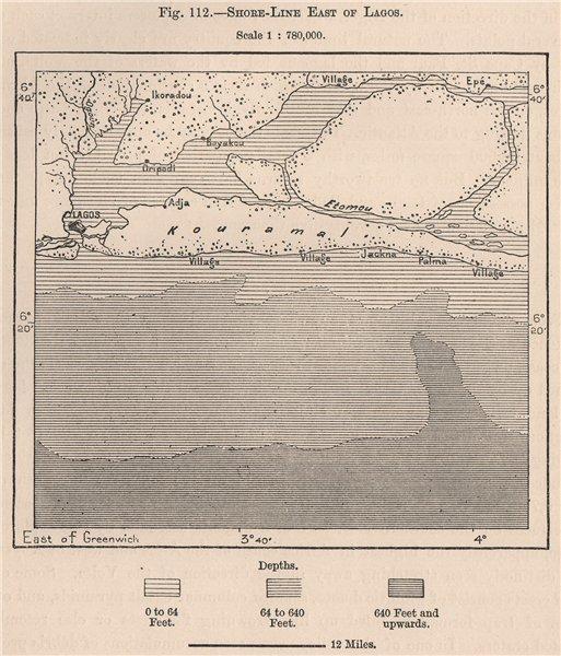 Shoreline East of Lagos. Lekki. Ikorodu. Nigeria 1885 old antique map chart