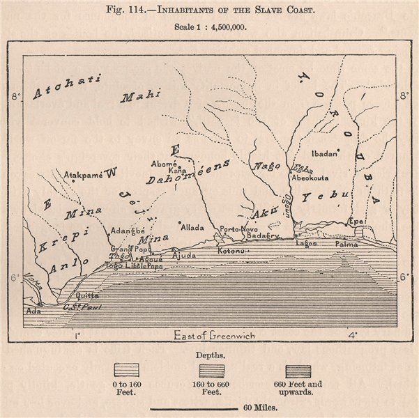Associate Product Inhabitants of the Slave Coast. Africa. Upper Guinea 1885 old antique map