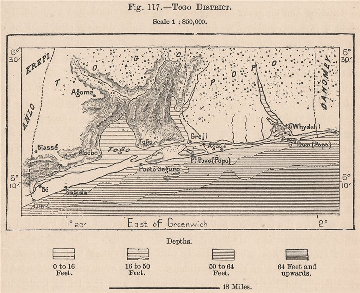 Associate Product Togo district. Lome. Lac Togo. Togoville. Grand Popo 1885 old antique map