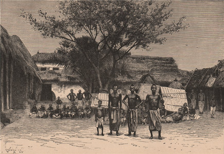 Associate Product Porto Novo (Parangipettai)  (Hogbonou, Adjacé) - Group of Natives. Benin 1885