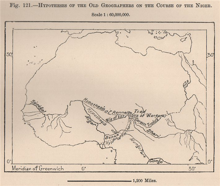 Associate Product Rennal Mungo Park Reichardt Hypotheses on the Niger river's course 1885 map