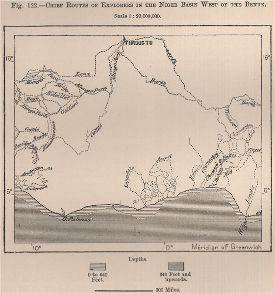 Associate Product Chief routes of explorers in the Niger Basin West of the Benue.Africa 1885 map