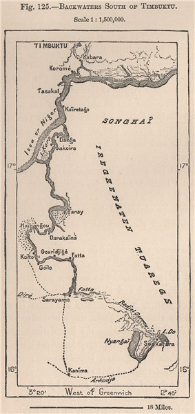 Associate Product Backwaters south of Timbuktu. Mali. The Niger Basin 1885 old antique map chart