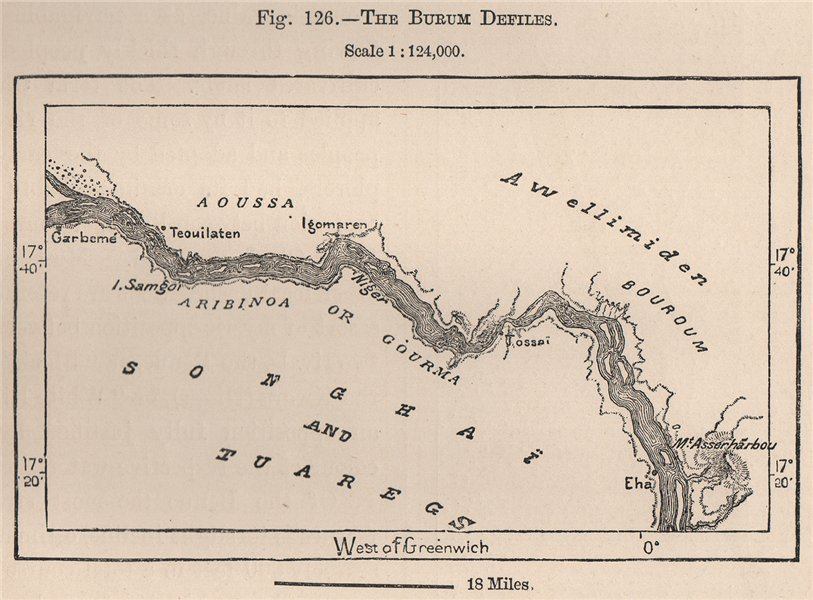 Associate Product The Bourem Defiles. Mali. The Niger Basin 1885 old antique map plan chart