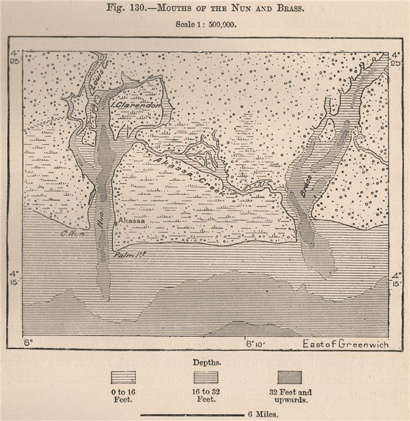 Associate Product Mouths of the Nun and Brass. Nigeria. Edumanom Forest 1885 old antique map