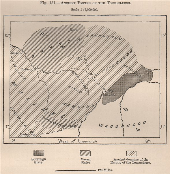 Associate Product Ancient empire of the Toucouleurs. Mali. The Niger Basin 1885 old antique map