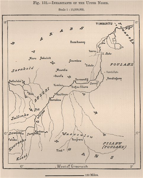 Associate Product Inhabitants of the upper Niger. Mali. The Niger Basin 1885 old antique map
