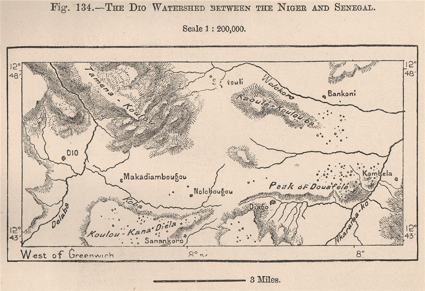 Associate Product The Dio Watershed between the Niger and Senegal.Mali.The Niger Basin 1885 map