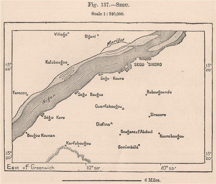 Associate Product Segu/Segou. Mali. The Niger Basin 1885 old antique vintage map plan chart