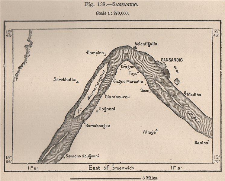 Associate Product Sansanding, Segou. Mali. The Niger Basin 1885 old antique map plan chart