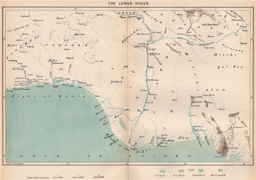 Associate Product The lower Niger. Nigeria. The Niger Basin 1885 old antique map plan chart