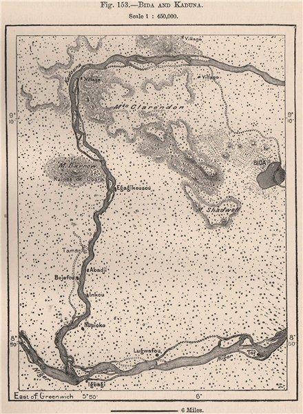 Associate Product Bida & River Kaduna. Nigeria. The Niger Basin 1885 old antique map plan chart