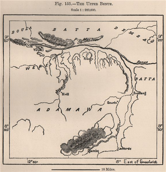 Associate Product The upper Benue river. Yola. Cameroon/Nigeria. The Niger Basin 1885 old map