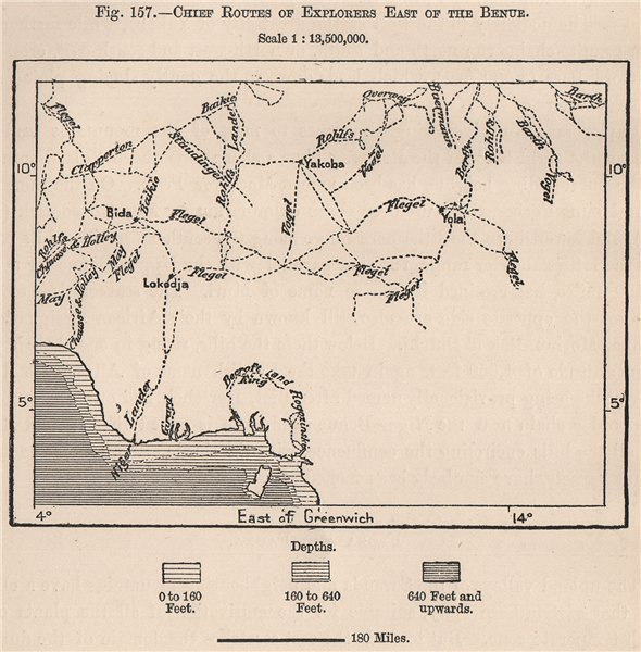 Associate Product Chief routes of explorers East of the Benue. Nigeria 1885 old antique map