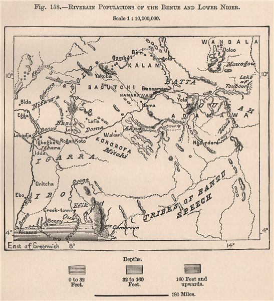 Associate Product Riverain populations of the Benue & lower Niger. Nigeria 1885 old antique map