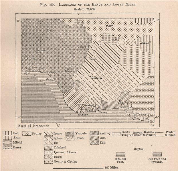 Associate Product Languages of the Benue and lower Niger. Nigeria. The Niger Basin 1885 old map