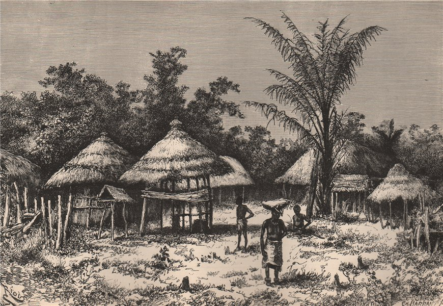 Associate Product Dwellings in Nupé. Nigeria. The Niger Basin 1885 old antique print picture