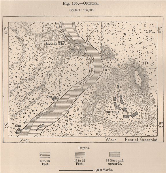 Associate Product Onitcha/Onitsha. Nigeria. The Niger Basin 1885 old antique map plan chart