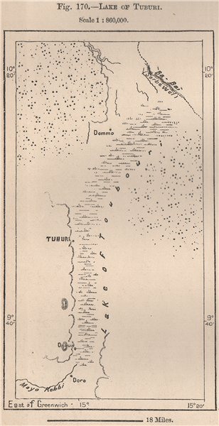 Associate Product Lake of Tuburi/Tupuri. Cameroon. The Chad Basin 1885 old antique map chart