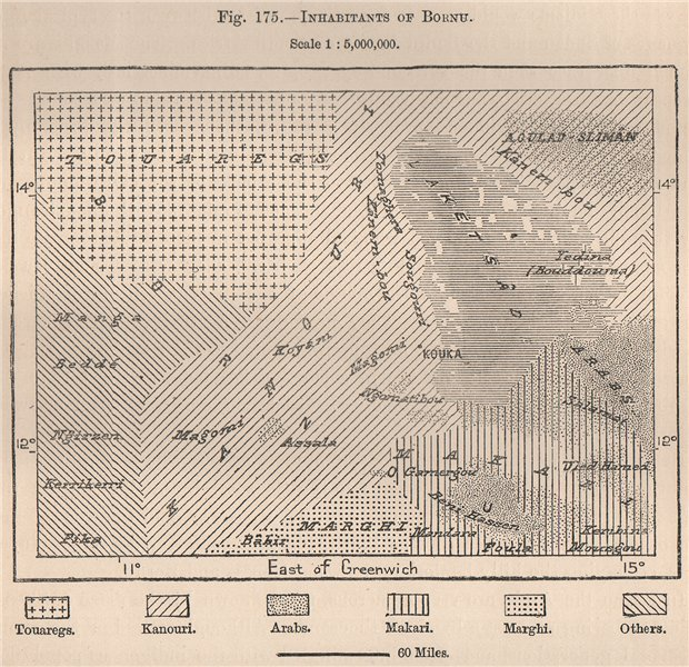 Associate Product Inhabitants of Borno/Bornu. Nigeria. The Chad Basin 1885 old antique map chart