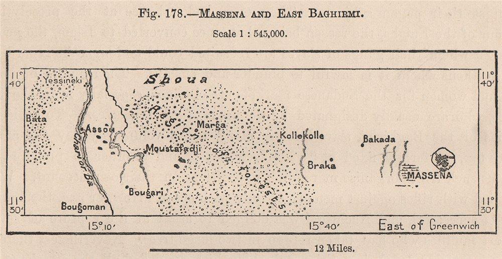 Associate Product Massenya and East Baghirmi. Chari River. Chad. The Chad Basin 1885 old map