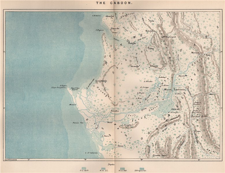 Associate Product Gabon coast. Libreville. Port Gentil. Wonga Wongue. Crystal Mountain 1885 map