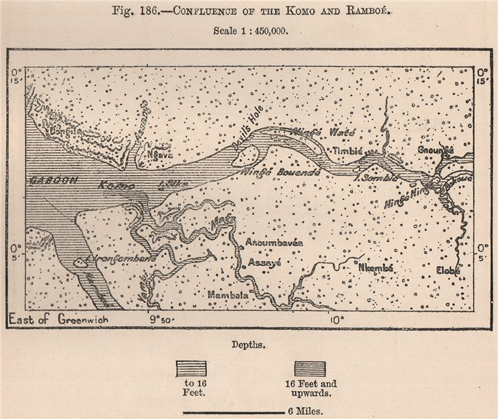 Associate Product Confluence of the Komo & Ramboé. Gabon Basin 1885 old antique map plan chart
