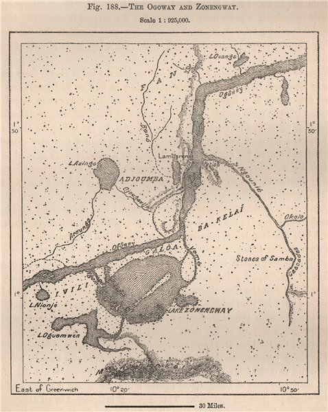 Associate Product The Ogooué (Ogowe) and Lake Onangue. Lambarene. Gabon 1885 old antique map