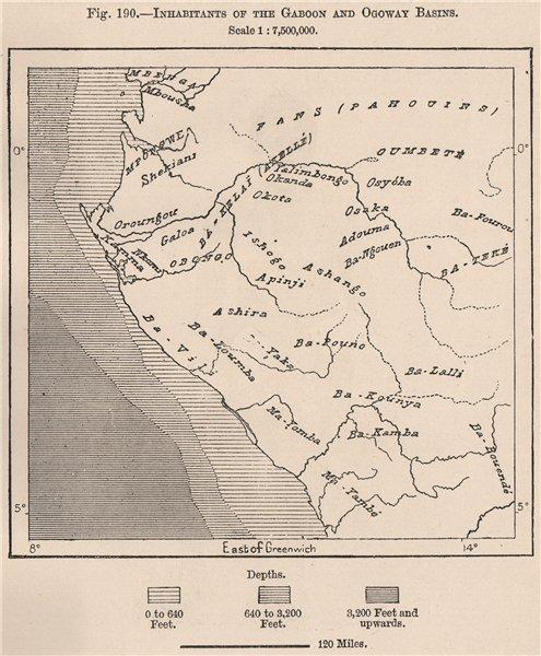 Associate Product Inhabitants of the Gabon & Ogooué (Ogowe) Basins 1885 old antique map chart