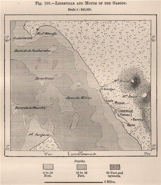 Associate Product Libreville & mouth of the Gabon. Gabon 1885 old antique vintage map plan chart