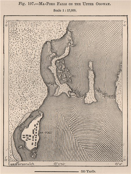 Associate Product Ma-Poko (Kongou?) falls on the upper Ogooué (Ogowe) . Gabon 1885 old map