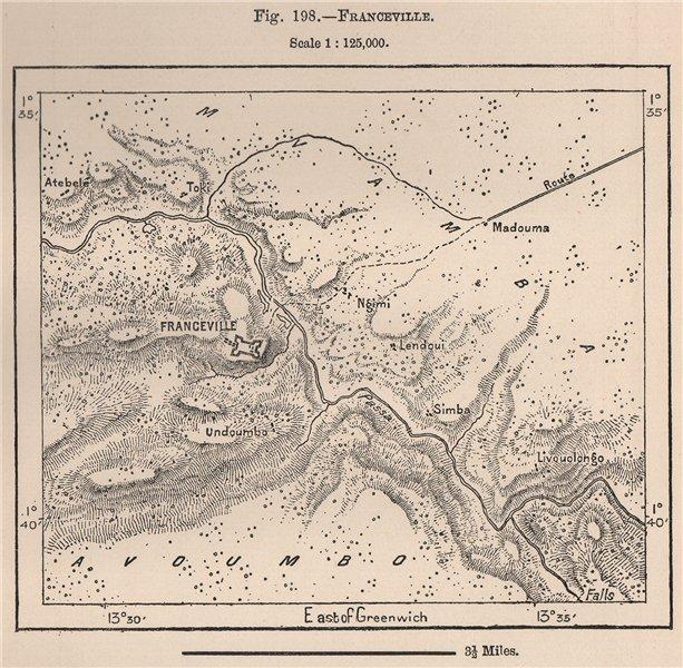 Associate Product Franceville. Gabon. The Gabon and Ogooué (Ogooué (Ogowe) ) Basins 1885 old map